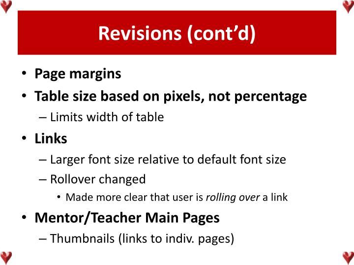 Revisions (cont'd)