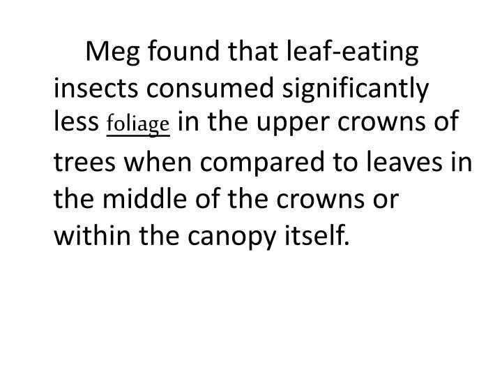 Meg found that leaf-eating insects consumed significantly less