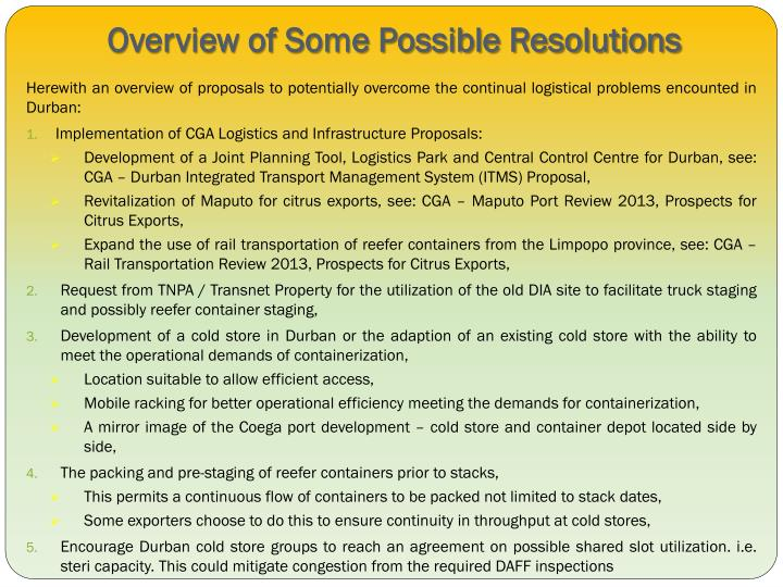 Overview of Some Possible Resolutions