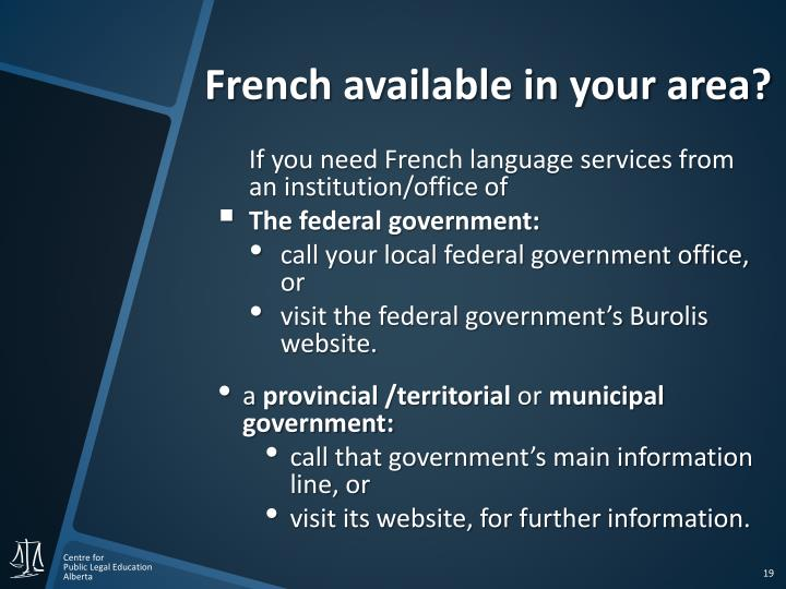 French available in your area?