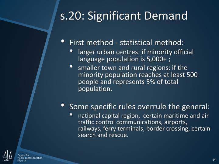 s.20: Significant Demand