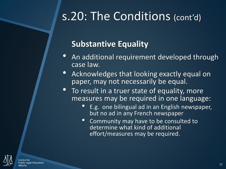 s.20: The Conditions