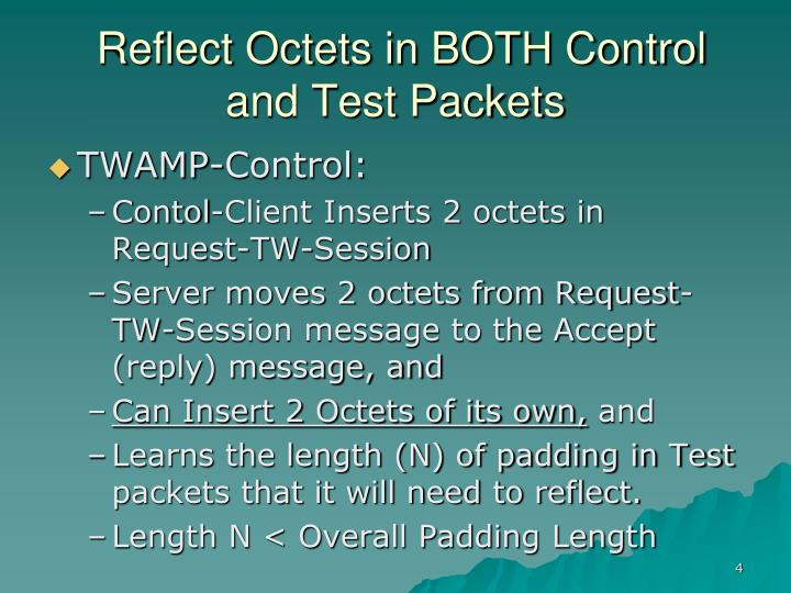 Reflect Octets in BOTH Control and Test Packets