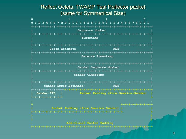 Reflect Octets: TWAMP Test Reflector packet