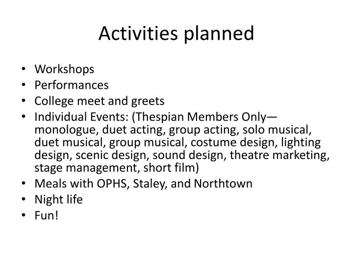 Activities planned