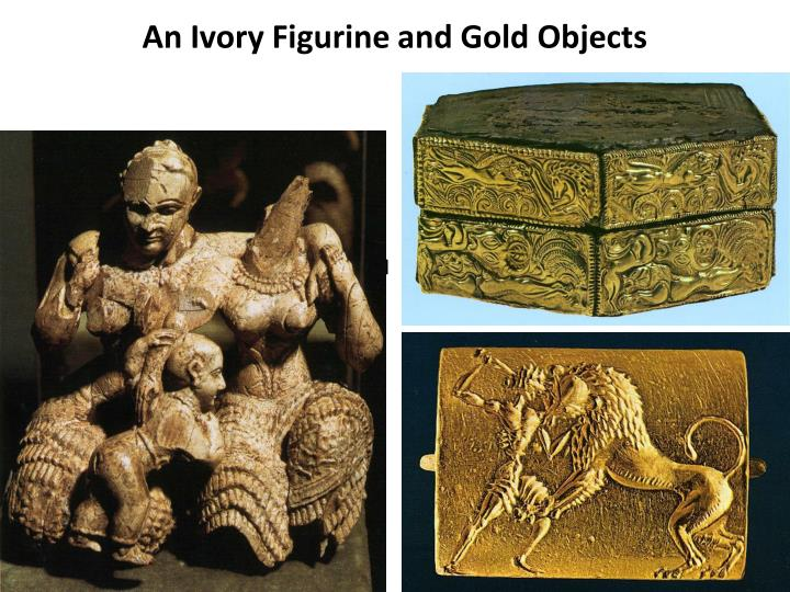 An Ivory Figurine and Gold Objects