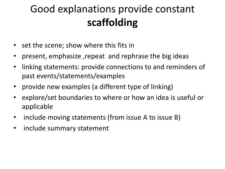 Good explanations provide constant