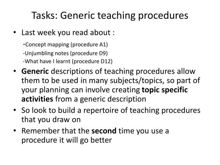 Tasks: Generic teaching procedures