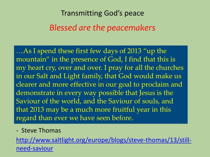 Transmitting God's peace