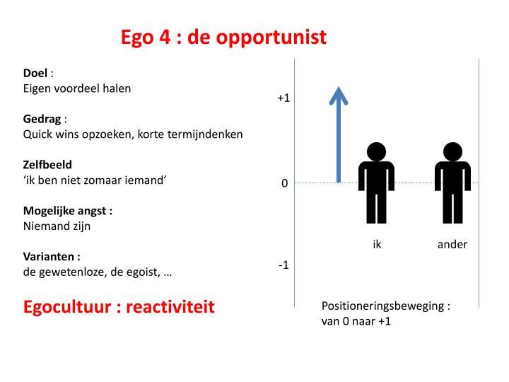 Ego 4 : de opportunist