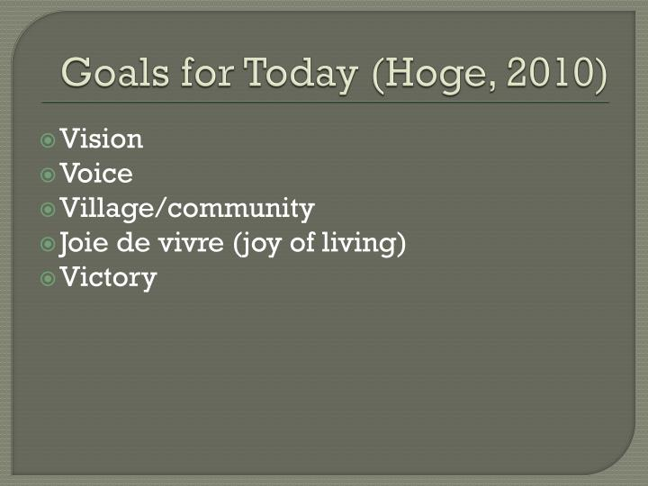 Goals for Today (