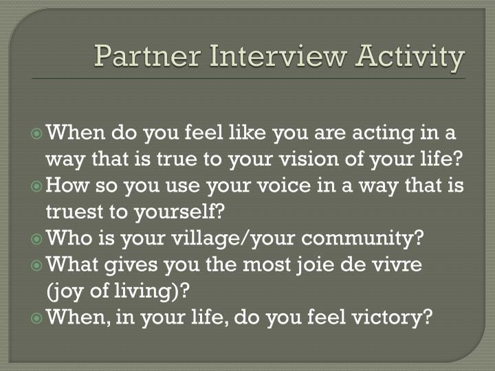 Partner Interview Activity