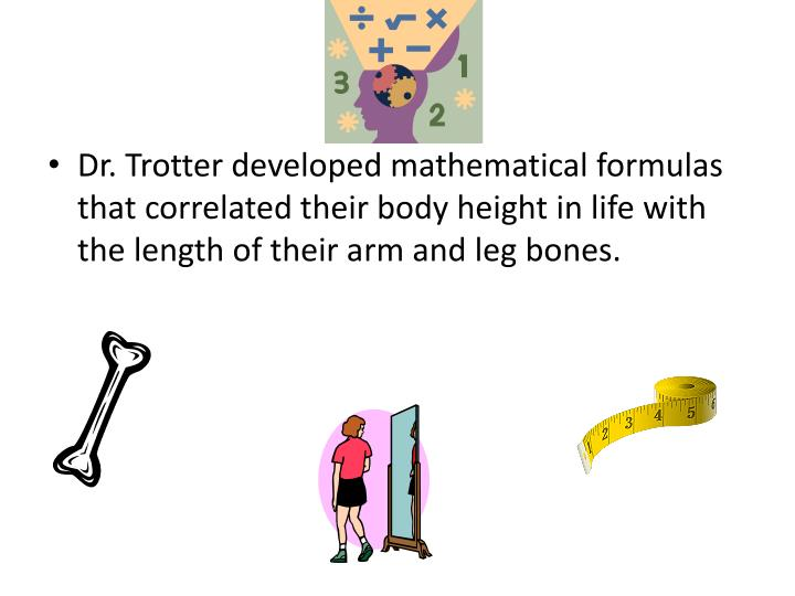 Dr. Trotter developed mathematical formulas that correlated their body height in life with the length of their arm and leg bones.