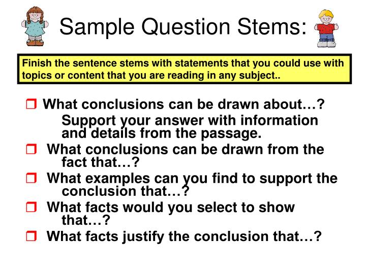 Sample Question Stems: