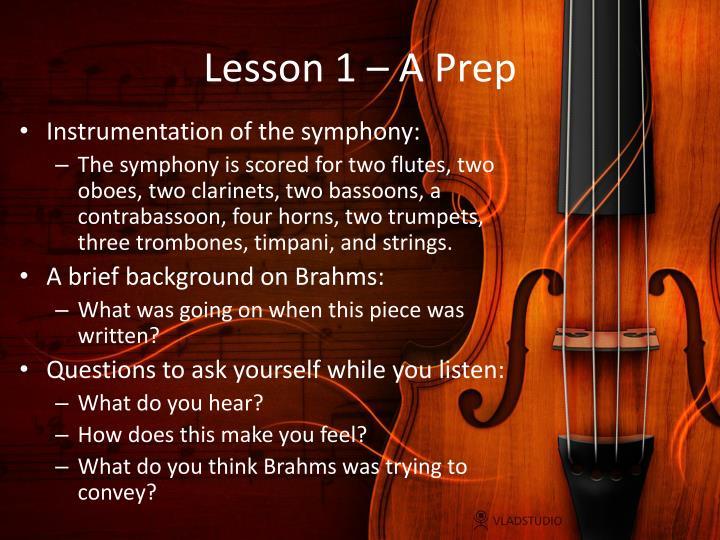 Lesson 1 – A Prep