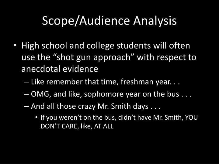 Scope/Audience Analysis