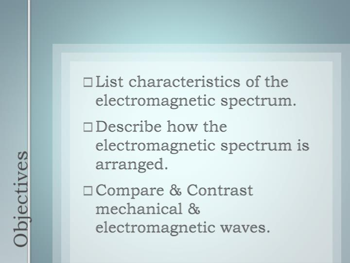 List characteristics of the electromagnetic spectrum.