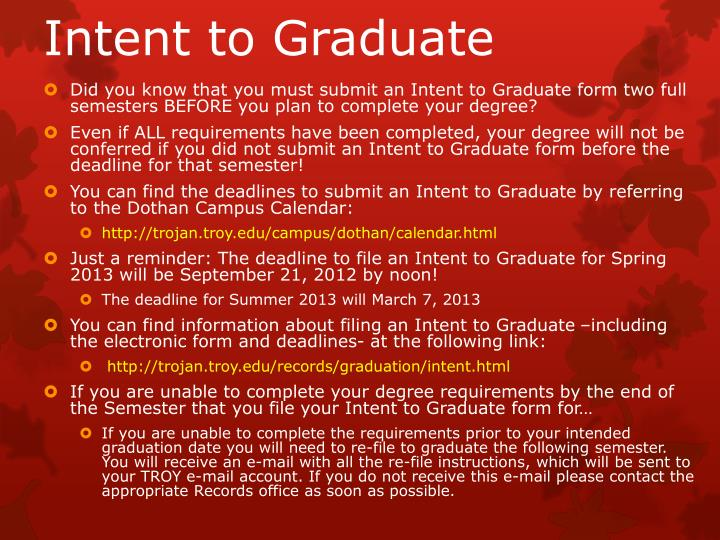 Intent to Graduate