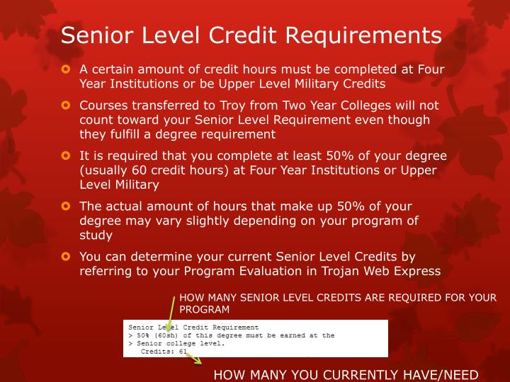 Senior Level Credit Requirements