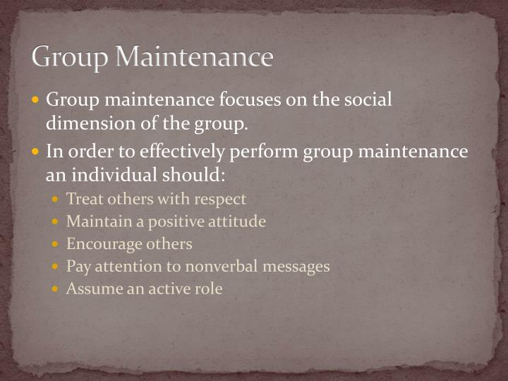 Group Maintenance