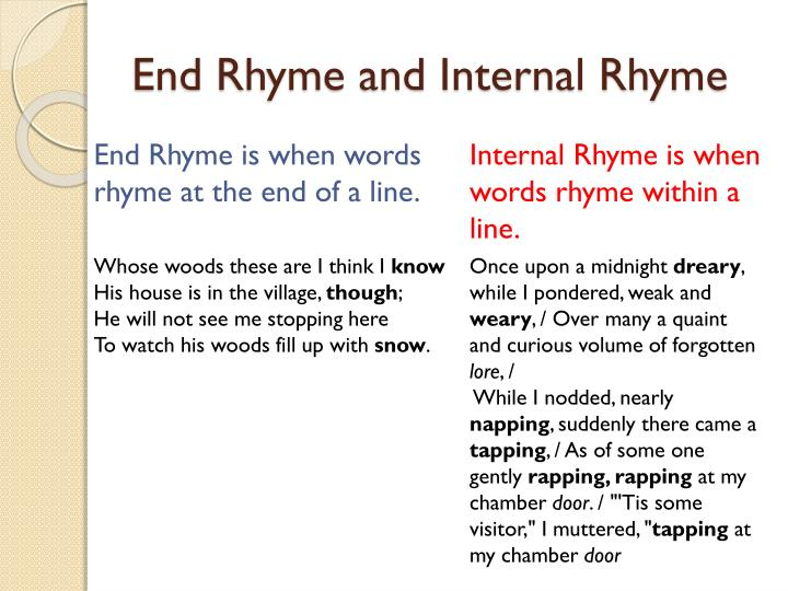 End Rhyme and Internal Rhyme