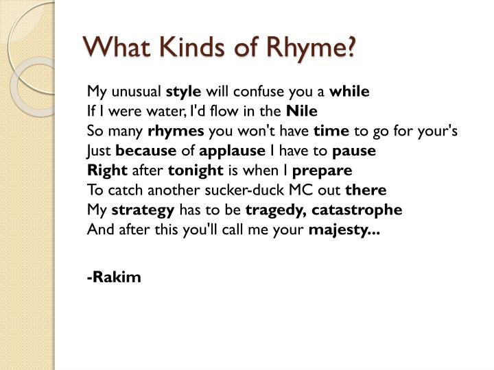 What Kinds of Rhyme?