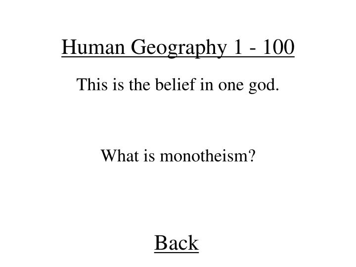 Human Geography 1 - 100
