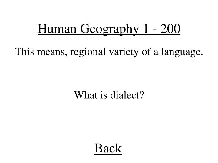 Human Geography 1 - 200