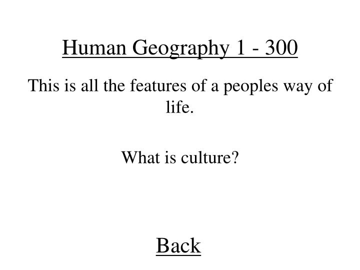 Human Geography 1 - 300