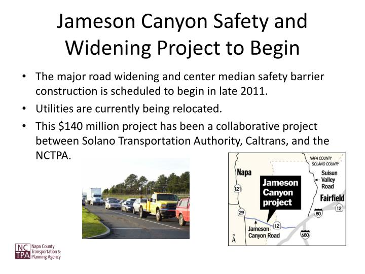 Jameson Canyon Safety and Widening Project to Begin