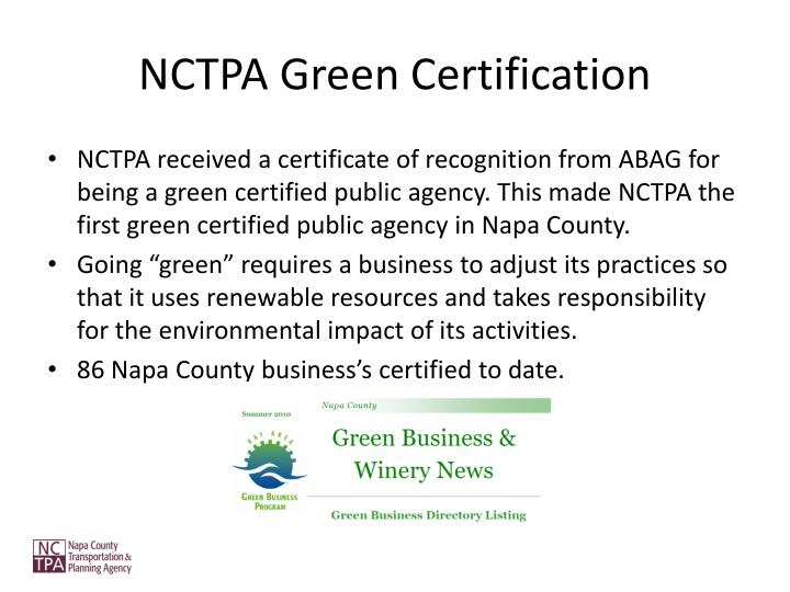 NCTPA Green Certification