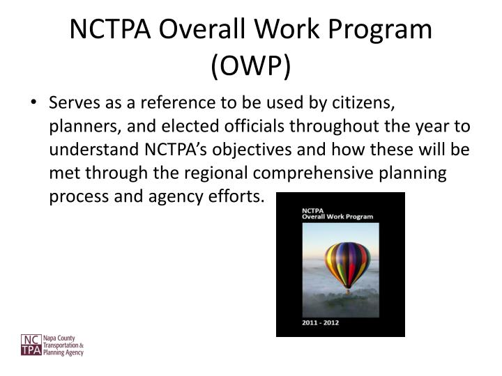Nctpa overall work program owp