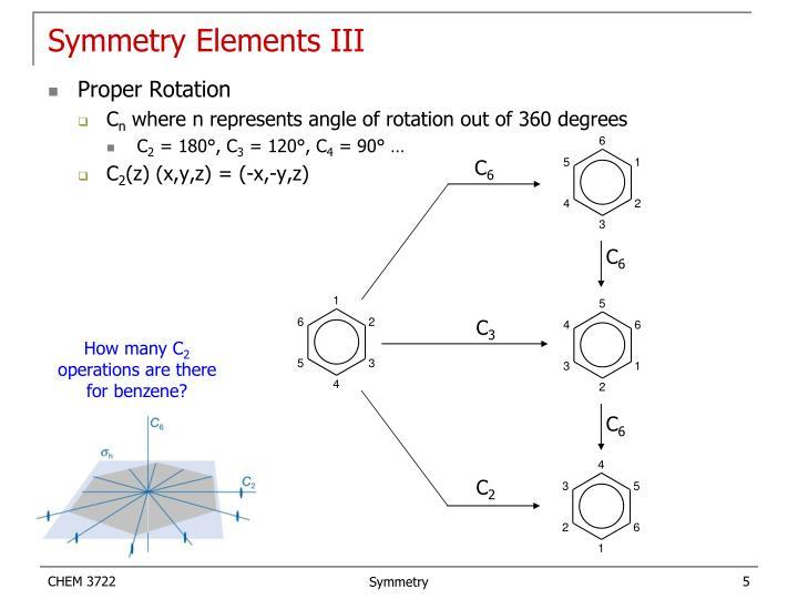 Symmetry Elements III