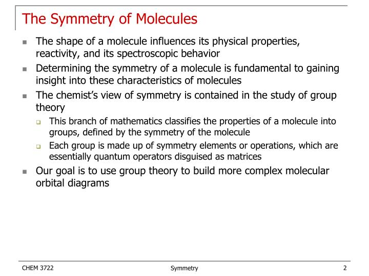 The Symmetry of Molecules