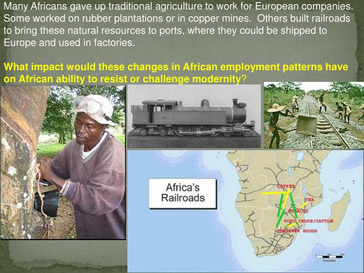 Many Africans gave up traditional agriculture to work for European companies.  Some worked on rubber plantations or in copper mines.  Others built railroads to bring these natural resources to ports, where they could be shipped to Europe and used