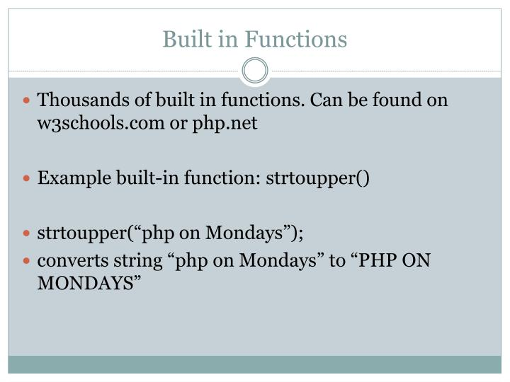 Built in functions