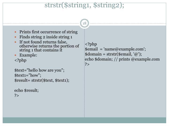 strstr($string1, $string2);