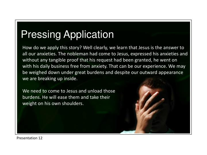 Pressing Application