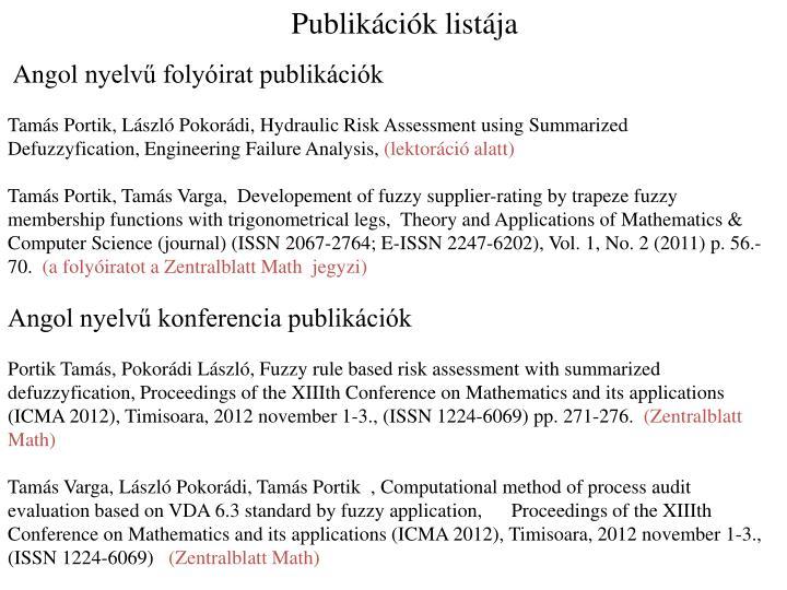 Publikációk listája