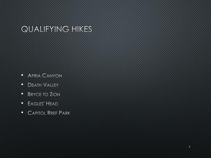 Qualifying hikes