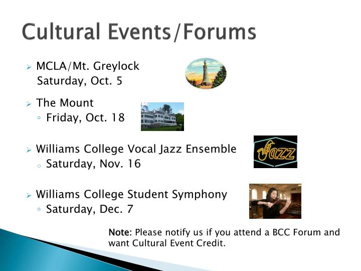 Cultural events forums
