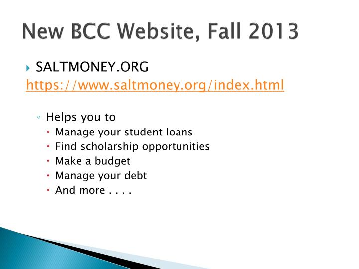 New BCC Website, Fall 2013