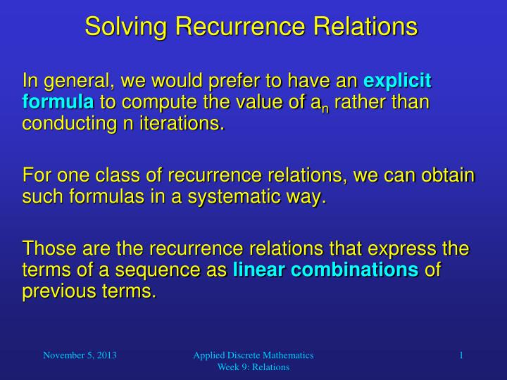 Solving recurrence relations