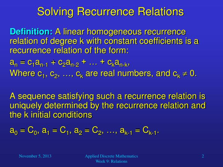 Solving recurrence relations1
