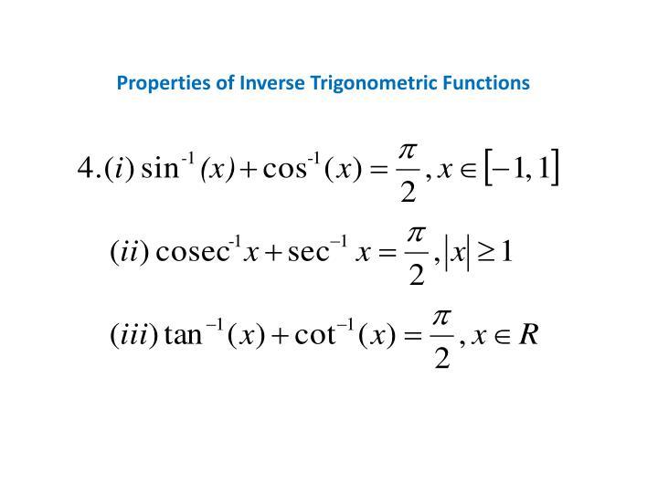 Properties of Inverse Trigonometric Functions