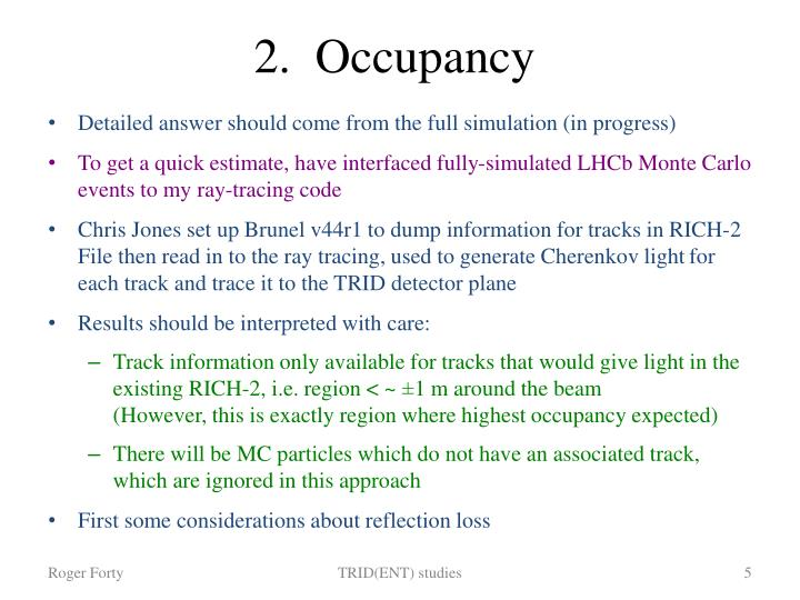 2.  Occupancy