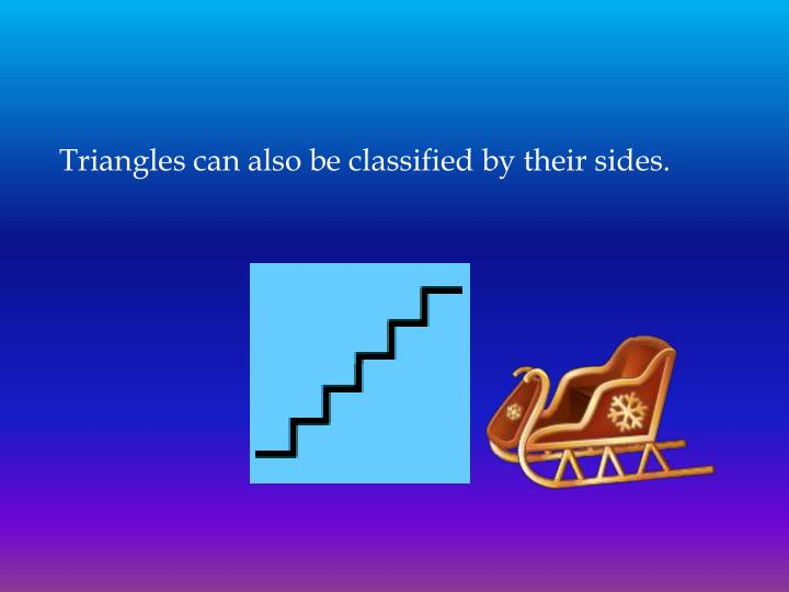 Triangles can also be classified by their sides.