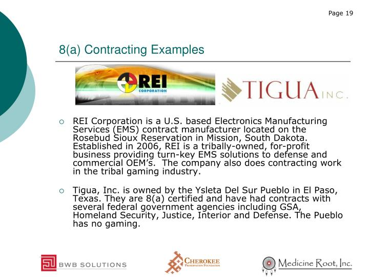 8(a) Contracting Examples