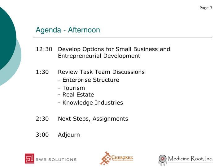 Agenda - Afternoon