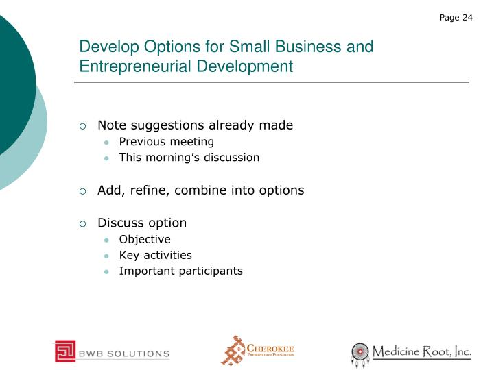 Develop Options for Small Business